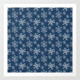Hand Drawn Snowflakes on Blue Art Print