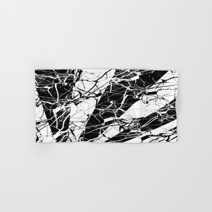 Rays Of Marble - Black and White, marble textured, abstract art Hand & Bath Towel