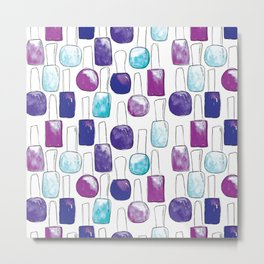 Nail Polish | Blue and Purple Pattern Metal Print