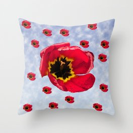 Lots of Bloomin' Tulips Throw Pillow