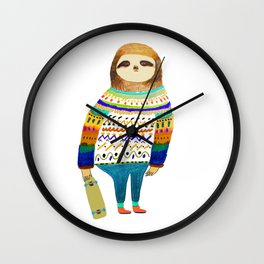 Hipster sloth skateboarder Wall Clock