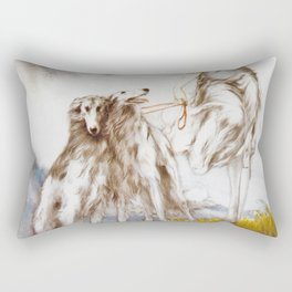 Louis Icart - Hunting - Supreme Delight - Digital Remastered Edition Rectangular Pillow