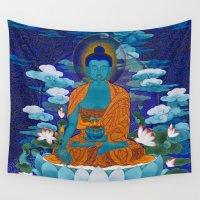 medicine Wall Tapestries featuring Medicine Buddha by Kalsang Dawa