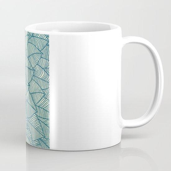 Emerald Green, Navy & Cream Floral & Leaf doodle Coffee Mug