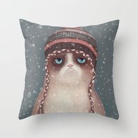 christmas Throw Pillows featuring Christmas Cat by Lime