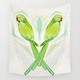 green parrot Wall Tapestry