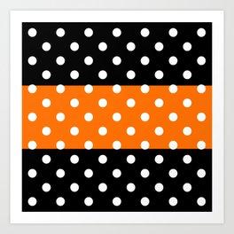 Extra Large White Polka Dots on Orange and Black Stripes Art Print
