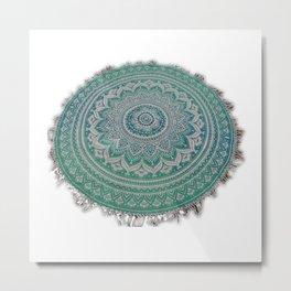 Ombre Round Mandala Tassle Fringe Roundie Yoga Mat tapestry  Metal Print