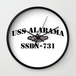 USS ALABAMA (SSBN-731) BLACK LETTERS Wall Clock