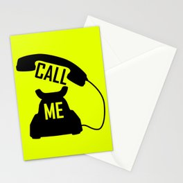 Cool Black Call me Vintage Retro telephone Stationery Cards