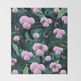 Tropical Peonies Dream #1 #floral #foliage #decor #art #society6 Throw Blanket
