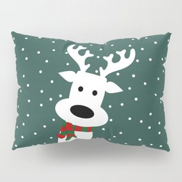 Reindeer in a snowy day (green) Pillow Sham