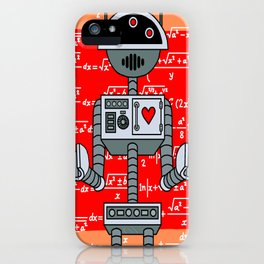 Nerdy Robot Print with math formulas in background iPhone Case