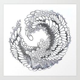 Abstract Modern Circle Detail Drawing Art Print