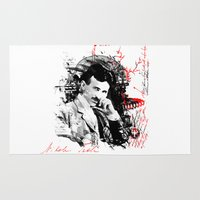 tesla Area & Throw Rugs featuring Nikola Tesla by viva la revolucion