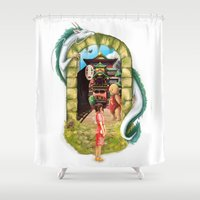 spirited away Shower Curtains featuring Spirited Away by Steph Harrison