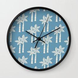 Palm Tree Pattern Blue 22 Wall Clock