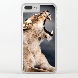 Growling Lioness Clear iPhone Case
