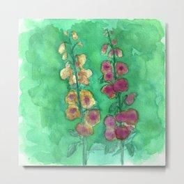 Hollyhock Foxglove Watercolor Honey & Berry on Green Metal Print