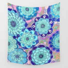 Radiant Cyan & Purple Stained Glass Floral Mandalas Wall Tapestry