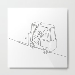 Forklift Truck Continuous Line Metal Print