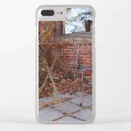 Winter time table and chair Clear iPhone Case