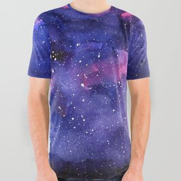 Galaxy Pattern Watercolor All Over Graphic Tee