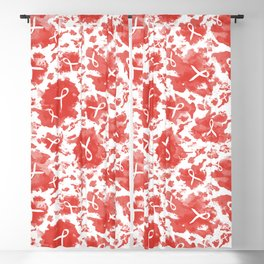 Red Watercolor Ink Splashes Cause Ribbons Blackout Curtain