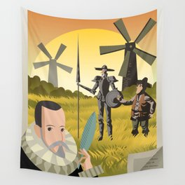 great spanish writer and old quixote knight with sidekick Wall Tapestry