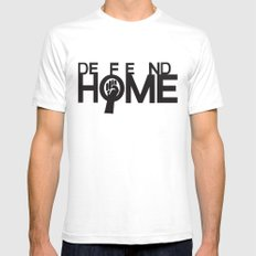 Defend Home White Mens Fitted Tee SMALL