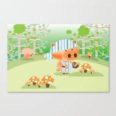 picking mushrooms Canvas Print