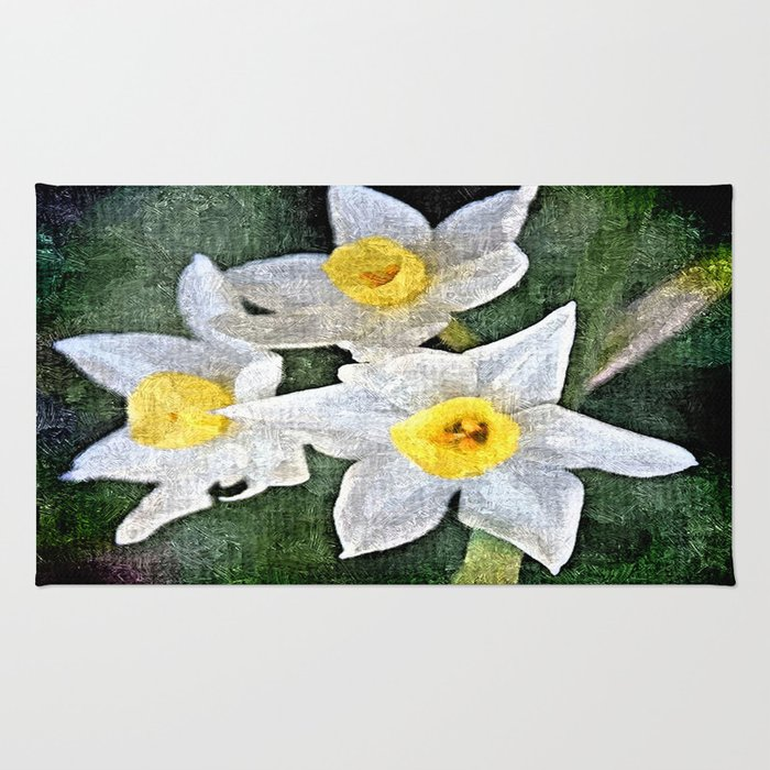 dwarf Daffs in oils Rug