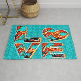 Colorful blue love Rug