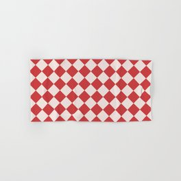 Red and White Checkered Diamond Pattern Hand & Bath Towel