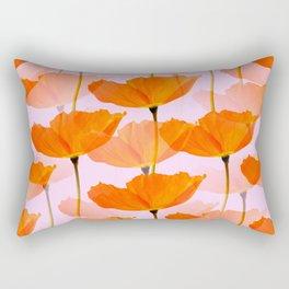Orange Poppies On A Pink Background #decor #society6 #buyart Rectangular Pillow