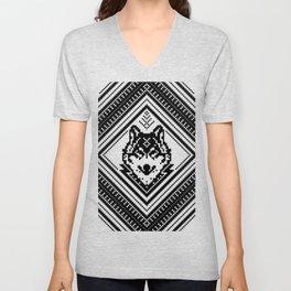 Wild Black Wolf - Slavic Ethno Transforming Geometric Pattern - WildLife 2 Unisex V-Neck