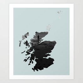 'Wandering' Scotland map Art Print