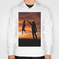 workout Hoodies featuring Sunset Workout by Sandy Broenimann
