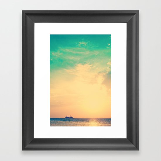 Ship in the beach on the sunset, and vintage turquoise sky Framed Art Print