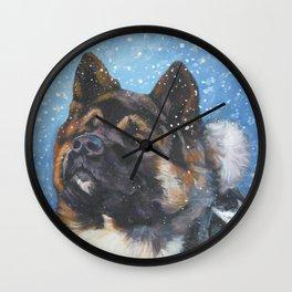 American Akita Fine Art Dog Painting by L.A.Shepard Wall Clock