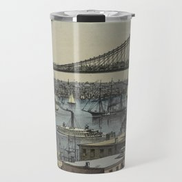 Vintage Brooklyn Bridge Illustration (1872) Travel Mug