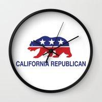 political Wall Clocks featuring California Political Republican Bear  by Republican