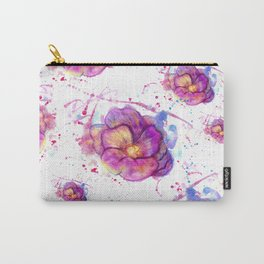 Splashing Purple Flower Carry-All Pouch