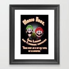 Super Mario Bros. Drain Cleaning & Plumbing Service Framed Art Print