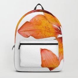 Coral Colored Lily Isolated on White Backpack