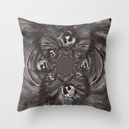 Black and White Sugar Skull Abstract Throw Pillow
