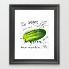 Watercolor cucumber Framed Art Print