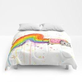Rainbow Cat Meme Geek Whimsical Animal Painting Comforters