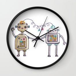 Cute robots in love II Wall Clock