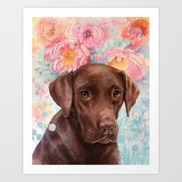 Flowers and Chocolate (chocolate lab dog watercolor portrait painting) Art Print